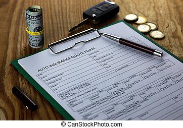 assurance automatique, contrat, argent