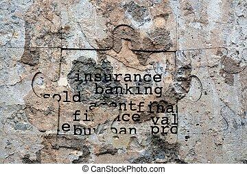 assurance, banque, grunge, concept