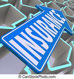 assurance, bleu, flèche