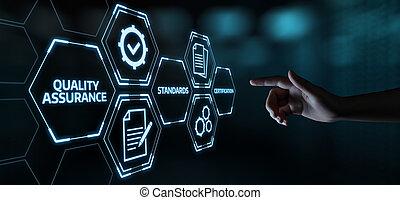 assurance, business, qualité, service, norme, internet, garantie, concept, technologie