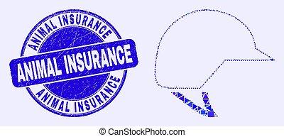assurance, casque, animal, mosaïque, motocyclette, timbre, bleu, grunge