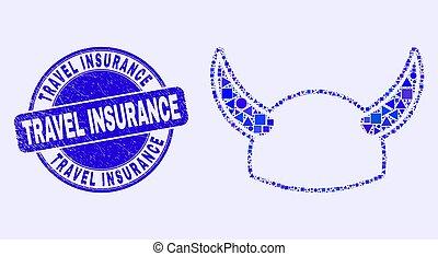 assurance, casque, mosaïque, bleu, cachet, gratté, voyage, cornu