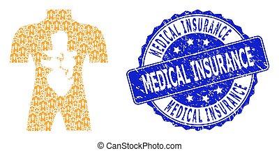 assurance, collage médical, rond, anatomie, textured, recursion, icône, cachet, humain