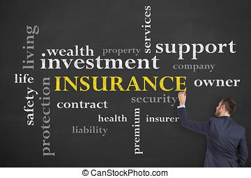 assurance, concept, diagramme, sur, blackb