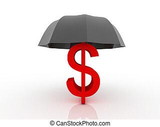 assurance, concept, financier, assurance, 3d