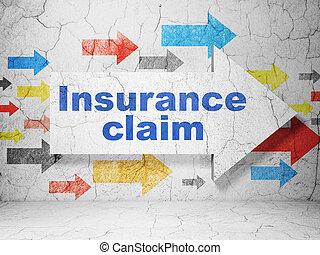 assurance, concept:, flèche, à, assurance, réclamation, sur, grunge, mur, fond