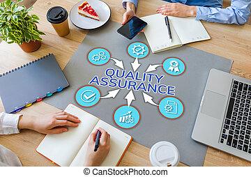 assurance, contrôle, garantie, desktop., qualité, satisfaction, service, bureau, client, concept