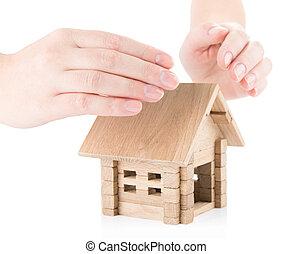 assurance, de, immobiliers, concept
