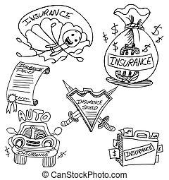 assurance, dessin, ensemble