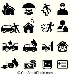 assurance, et, désastre, icône, ensemble