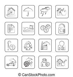 assurance, et, risque, icônes