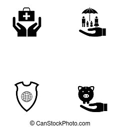 assurance, icône, ensemble