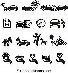 assurance, icônes, set., vecteur, illustration.