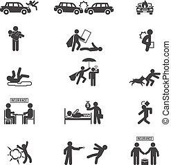 assurance, icônes, vecteur