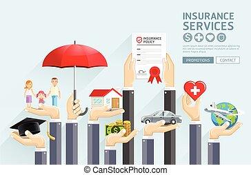 assurance, mains, services., vecteur, illustrations.