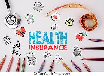assurance maladie, concept., healty, style de vie, fond