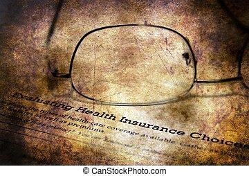 assurance maladie, formulaire, grunge, concept