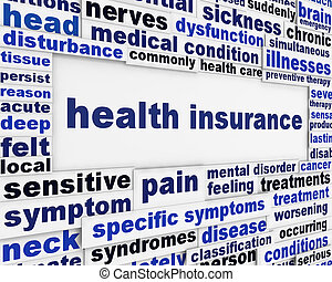 assurance maladie, monde médical, message, fond