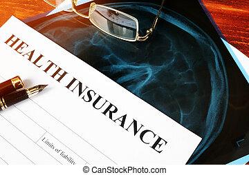 assurance maladie, politique, concept., réclamation, formulaire, et, rayon x, sur, a, table.