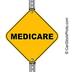 assurance-maladie, route jaune, signe