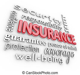assurance, mot, 3d, collage, proteciton, sécurité, depuis, mal
