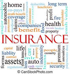 assurance, mot, concept, illustration