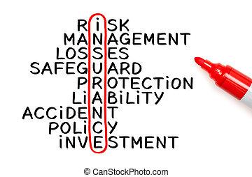 assurance, mots croisés, marqueur, concept