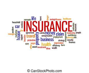 assurance, protection, concept, mot, nuage