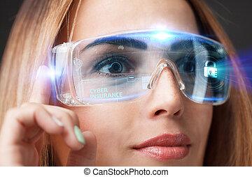 assurance, réseau, fonctionnement, femme affaires, concept., lunettes, jeune, virtuel, business, cyber, future., technologie internet, technologie, exposer, sélectionner, icône