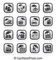 assurance risque icones affaires ensemble risque icones affaires vecteur assurance ic ne. Black Bedroom Furniture Sets. Home Design Ideas