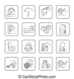 assurance, risque, icônes