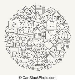 assurance, services, ligne, icônes, ensemble, cercle