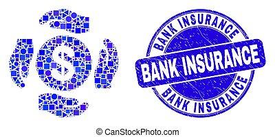 assurance, soin, bleu, gratté, banque, cachet, dollar, mains, mosaïque