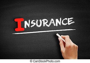assurance, texte, tableau noir