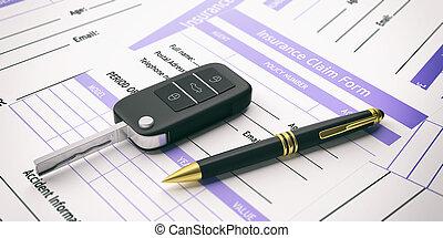 assurance voiture, réclamation, form., 3d, illustration