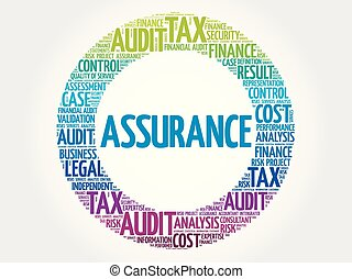 ASSURANCE word cloud collage, business concept background