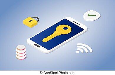 assurer, cadenas, isométrique, base données, moderne, téléphone, concept, vecteur, sécurité, style, -, bouclier