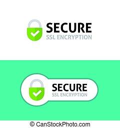 assurer, connexion, icône, obtenu, ssl, protégé, sûr,...