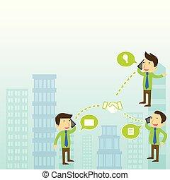 assurer, gens, jeune, vif, trouver, conférence, idées, appeler, tenue, nouveau, bon, business, resolution., ils, discuter, mobile, affaire, appareils, avoir, conversation, trois, concepts, où, ou