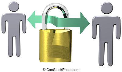 assurer, gens, serrure, communications, sécurité, données