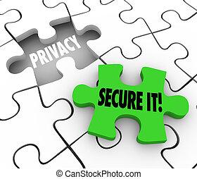 assurer, intimité, puzzle, il, privé, trouée, informat, ...