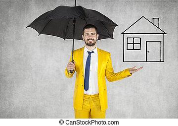assurer, maison, agent assurance, ton