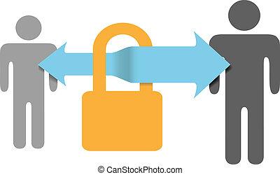 assurer, serrure, sûr, communications, sécurité, données