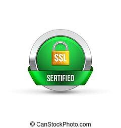 assurer, ssl, protection, icône, garde, bouton, transaction, symbole., sécurité, serrure, conception, ribbon.
