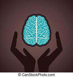 assurer, ton, cerveau, concept