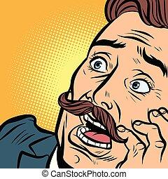assustado, bigode, homem