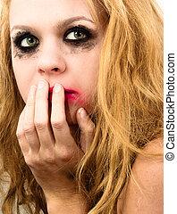 assustado, menina, com, bonito, cabelo loiro