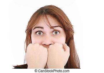 assustado, mulher, gritando, com, mãos, a, boca, isolado, branco, fundo