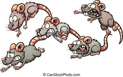 assustado, ratos, executando