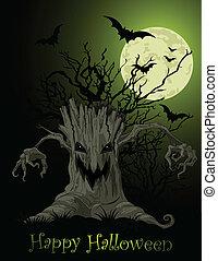 assustador, árvore, fundo